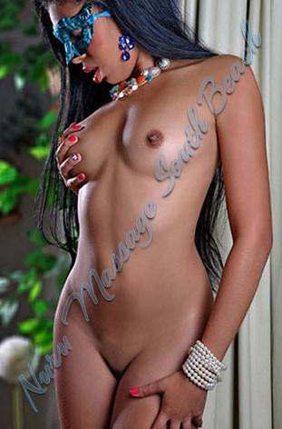 Nude image of ebony escort wearing mask